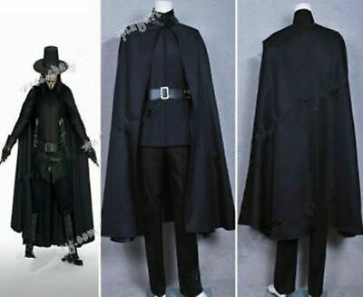 Cosplay Costumes For Guys (V for Vendetta Guy Fawkes Cosplay Costume Full Set Black Cape Suit)