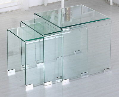 Unique Modern Design. Clear Bent Glass Nest of Three Tables.Glass Coffee Tables.