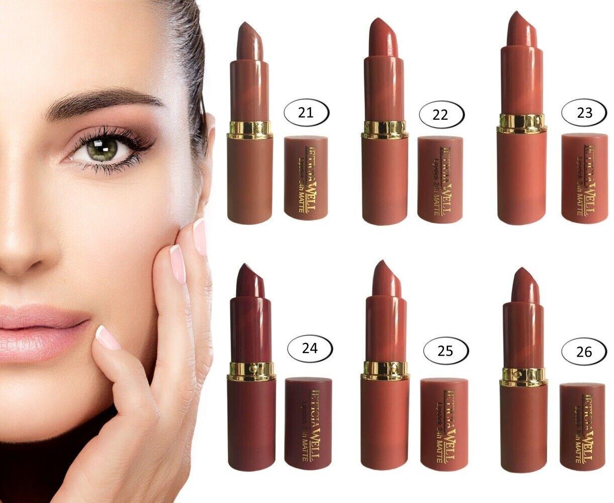 Lippenstift Matt 24h  Lipstick Braun Töne Lippenpflege Kosmetik Matter Lipliner