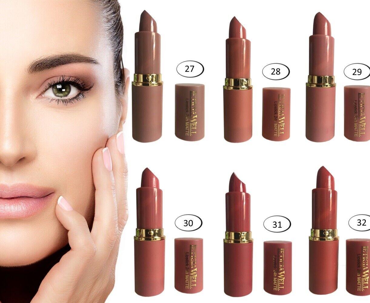 Lippenstift Matt 24h  Lipstick Braun Töne Lippenpflege Kosmetik Matter Lipliner1