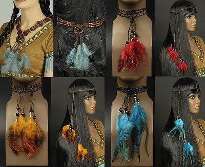 Kette für Kostüm Squaw Halskette Stirnband Kopfschmuck Indianer (Kostüm Schmuck Halsketten)
