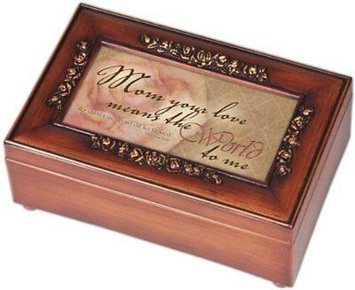 Mom Inspirational Decorative Woodgrain Rose Music Box - Plays Amazing Grace