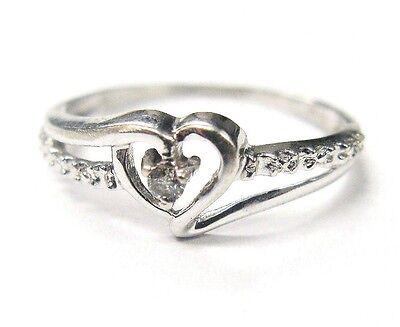 10k White Gold Genuine Solitaire Diamond Heart Swirl Design Ring Size 5.25 ()