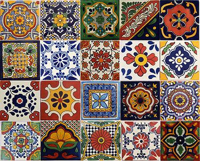 40 PCS Talavera 6X6 Handmade Ceramic Tile Mexican MIX
