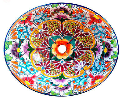 #134) SMALL 16x11.5 MEXICAN BATHROOM SINK CERAMIC Stop in withdraw from IN UNDERMOUNT BASIN