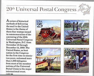 US SCOTT 2438 20TH UNIVERSAL POSTAL CONGRESS TRADITIONAL MAIL SS MNH FREE SHIP