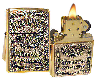 Zippo Lighter 254BJD.428 Jack Daniels Label Emblem High Polish Brass Spirits NEW