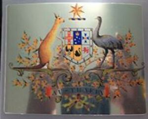 Australian coat of arms square chrome (Size apr 90mm by70mm)