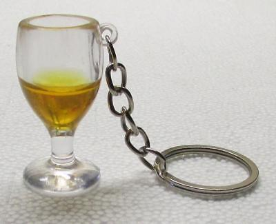 Fake Orange Gold WINE GLASS Plastic Wineglass KEY CHAIN Ring Keychain NEW (Clear Plastic Keychains)