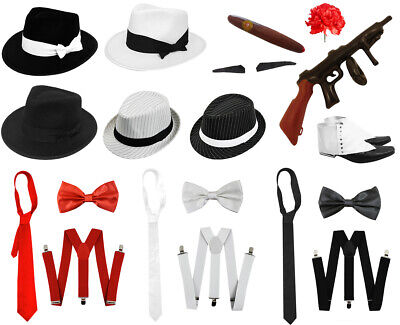 MENS 1920'S GANGSTER FANCY DRESS COSTUME HAT BRACES TRILBY SET ACCESSORIES LOT