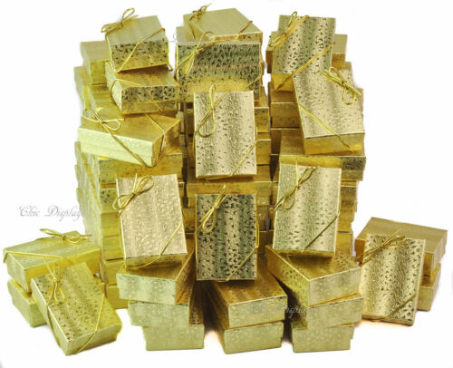 100pc Gift Box Gold Jewelry Gift Boxes Cotton Filled Gold Gift Boxes +FREE Bows