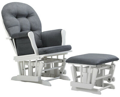 GLIDER ROCKING CHAIR WITH OTTOMAN Dark Gray Cushions Rocker Nursery -