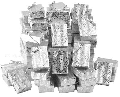 Lot Of 100 Silver Cotton Filled Box Jewelry Gift Boxes Earring Box 3 14 X 2 14