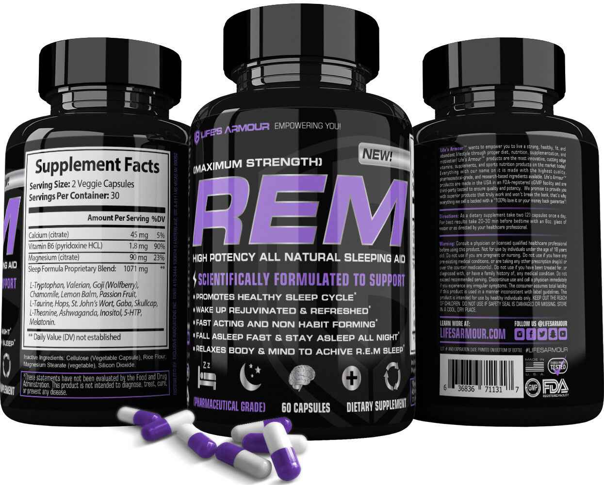REM™ Sleep Aid by Life's Armour™ Best All Natural Extr