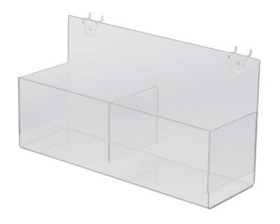 2 Display Bins 14 Pegboard Clear Acrylic Double Bin 14 X 4 X 4 Merchandise