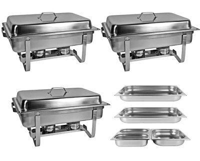 Profi SET 3 x Chafing Dish 5x GN Behälter Warmhaltebehälter Speisewärmer Chafing Dish Set