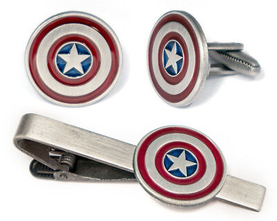 Captain America Shield Cufflinks, Avengers Tie Clip Ironman Thor Hulk Cuff Links