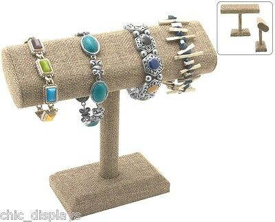 Modern Burlap Bracelet Stand Oval T Bar Bracelet T-bar Showcase Watch Display