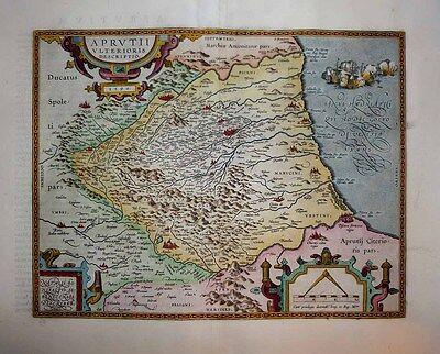 1603 Ortelius (Bonifacio) Map ABRUZZO Italy Naval Battle Vignette DECORATIVE!