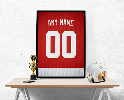 Detroit Red Wings Jersey Poster - Personalized Name & Number FREE US SHIPPING
