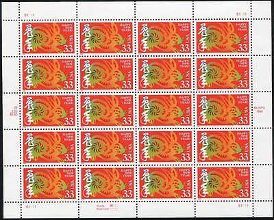 1999 LUNAR HAPPY NEW YEAR OF THE RABBIT HARE: PANE SHEET OF 20 X 33 STAMPS 3272