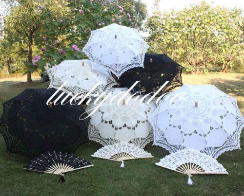 Handmade Cotton Lace Parasols Umbrellas Fans Bridal Wedding Birthday Party Decor