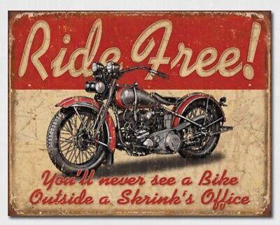 Ride Free Metal Tin Sign Home Motorcycle Garage Shop Wall Hot Rod Decor #1699