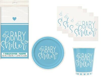 Blau Herzen Jungen Baby Dusche Party Geschirr Range Ballons & Dekorationen