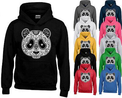 PANDA SUGAR SKULL Day of the Dead HOODIE funny Mexican Gothic HOODED SWEATSHIRT - Panda Hoodie