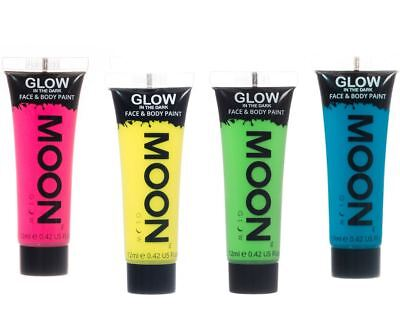 Moon Glow Neon glow in the Dark Face & Body Paint Festival Party Set of 4 x 12ml (Glow In The Dark Neon Face Paint)