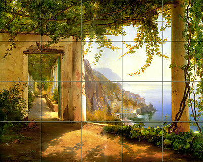 30 x 24 Art Tumbled Marble Mural Amalfi Coast Tile #170