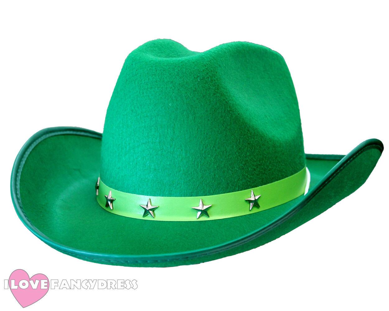 GREEN STAR STUDDED COWBOY HAT WILD WEST WESTERN COWGIRL FANCY DRESS ST  PATRICKS 92e2f94e0549