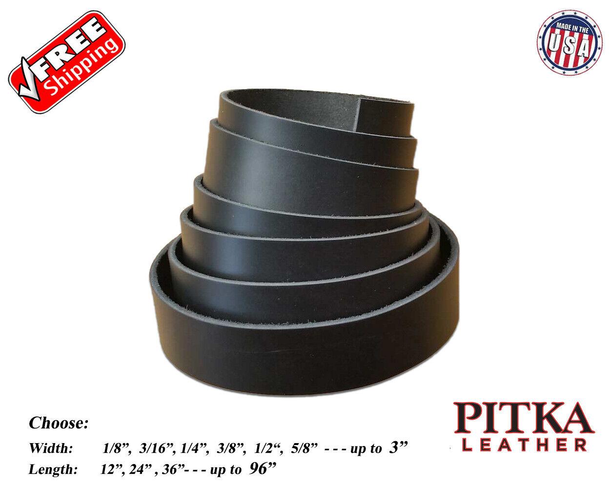Black Leather Strips Latigo 7-8 oz - Belts, Guitar Straps, C