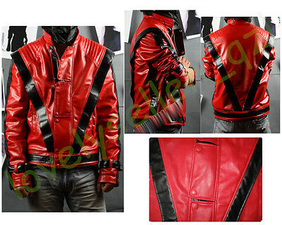 Cool Unisex Michael Jackson Red Thriller Leather Jacket Coat MJ Costume &