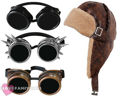 STEAMPUNK PILOT HAT AND GOGGLES 1940'S AVIATOR FANCY DRESS WARTIME COSTUME](Aviator Goggles And Hat)