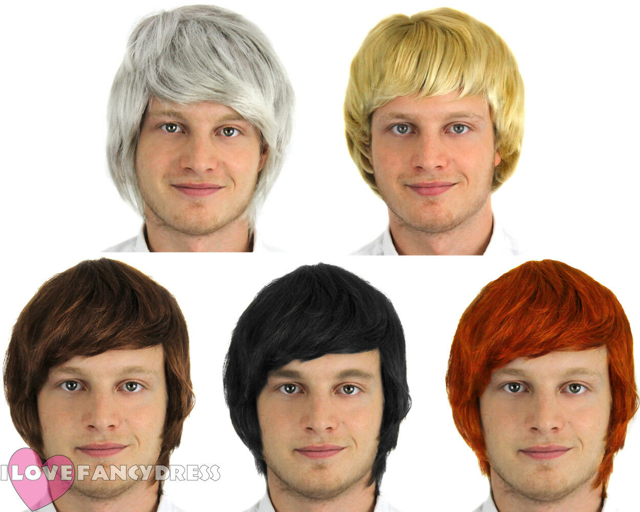 90S Porn Party Fancy mens short wig boy band adult male fancy dress costume accessory 60s 70s  80s 90s