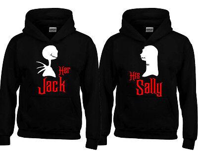 Halloween Jack Sally Couple Funny HOODIE Sweatshirt Boo Hoodie BLACK-BLACK