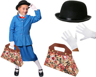 GIRLS MAGICAL NANNY COSTUME WORLD BOOK DAY CHARACTER VICTORIAN FANCY DRESS KIDS (Magical Costume)