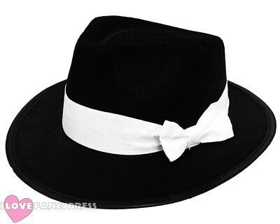 DLX BLACK GANGSTER HAT 1920S FANCY DRESS TRILBY AL CAPONE COSTUME 55CM 58CM 60CM