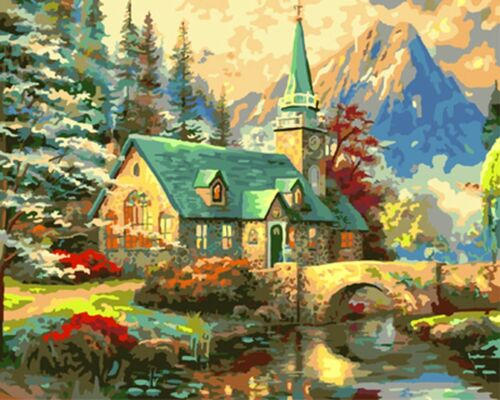 Paint By Numbers Landscape Kit DIY Number Canvas Painting Oil House Church Trees