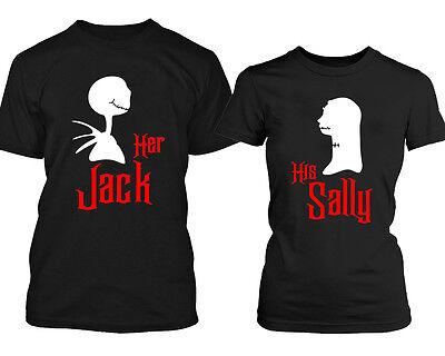 Halloween Jack Sally Couple Funny Tshirt Her Jack His Sally Boo Tshirt BLCK-BLAC