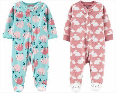 Baby Bunny Pajamas (NWT Carters Bunny Sloth Baby Girls Footed Fleece Sleeper Pajamas 6 9)