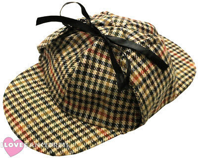 SHERLOCK HOLMES DETECTIVE HAT BROWN DEERSTALKER FANCY DRESS COSTUME ACCESSORY