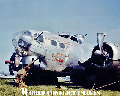 USAAF WW2 B-17 Bomber Little Miss Mischief #1 8x10 Nose Art Color Photo 91st BG , used for sale  Shipping to Canada