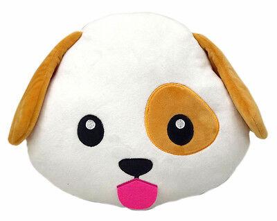 Dog Puppy Emoji Pillow Emoticon Cushion Soft Smiley 32cm NEW