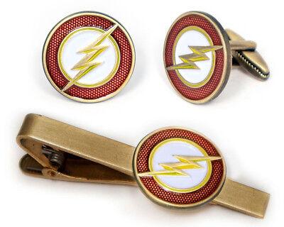 Flash Cufflinks, The Justice League Tie Clip Comic Superhero Wedding Cuff Links (Superhero Wedding)