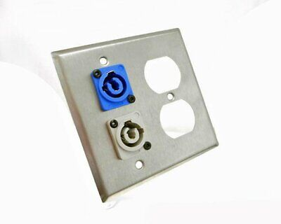 ProCraft 2 Gang Stainless Wall Plate AC Duplex Neutrik PowerCon In Blue Out Gray Duplex Out Wall Plate