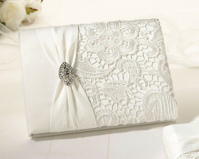 Wedding Guest Book in Cream with Vintage Lace & Diamante Design SF