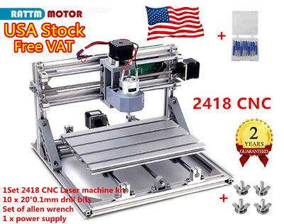 Us Stock3 Axis Cnc2418 Router Usb Port Wood Pcb Milling Diy Mini Laser Machine