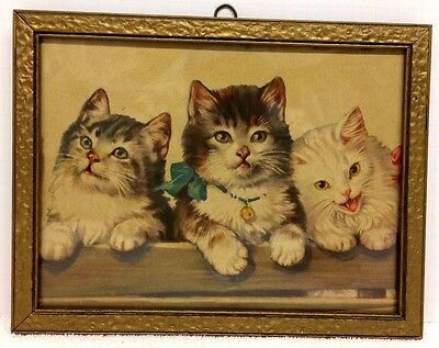 Vintage 3 Little Kittens Gold Framed Print Picture Cats